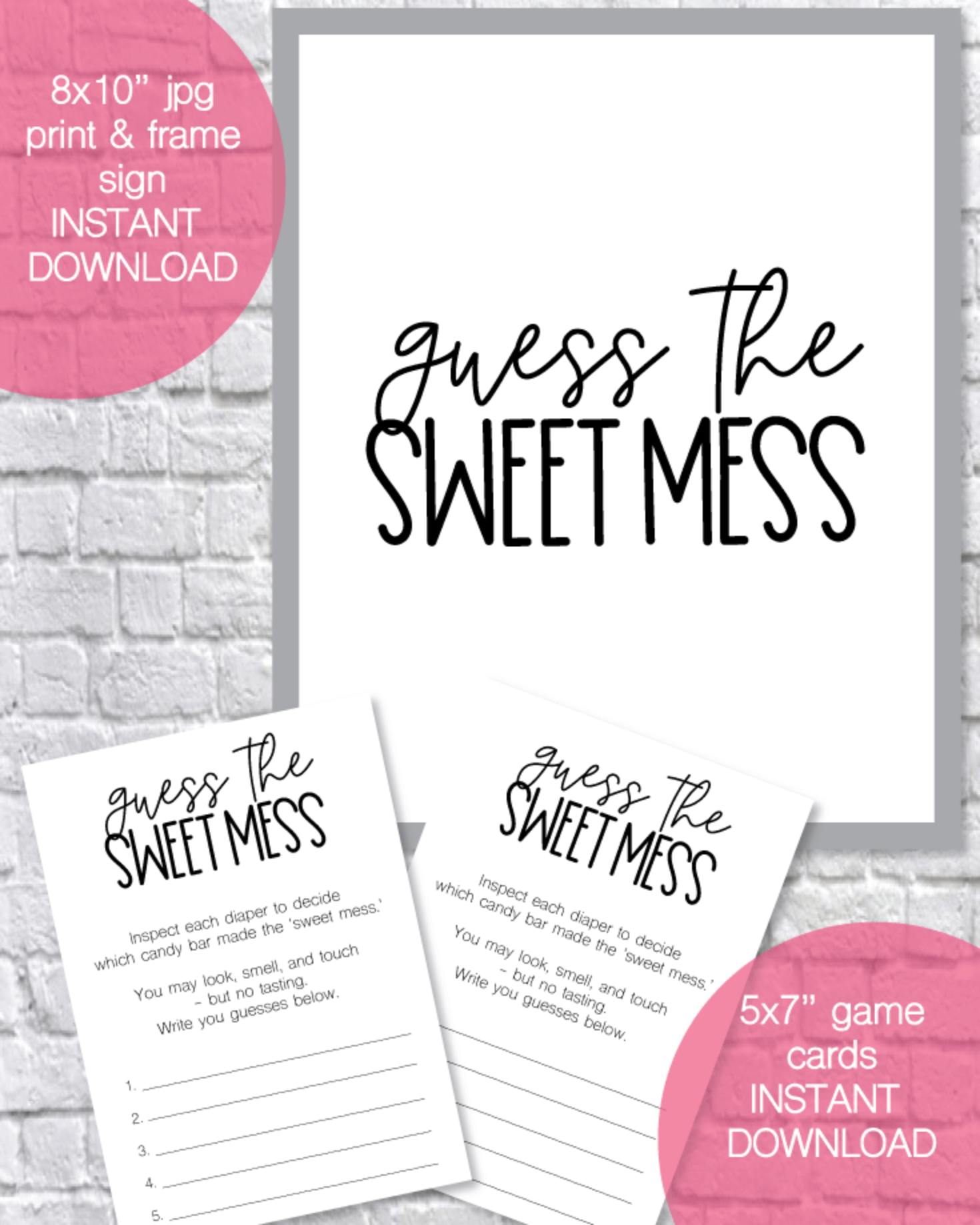 Guess The Sweet Mess Printable Baby Shower Game Cards And Sign