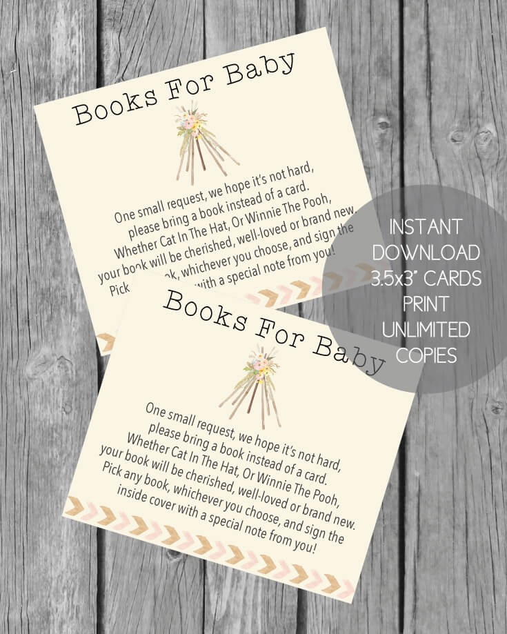 Printable Books For Baby Cards - Boho Teepee Baby Shower Theme