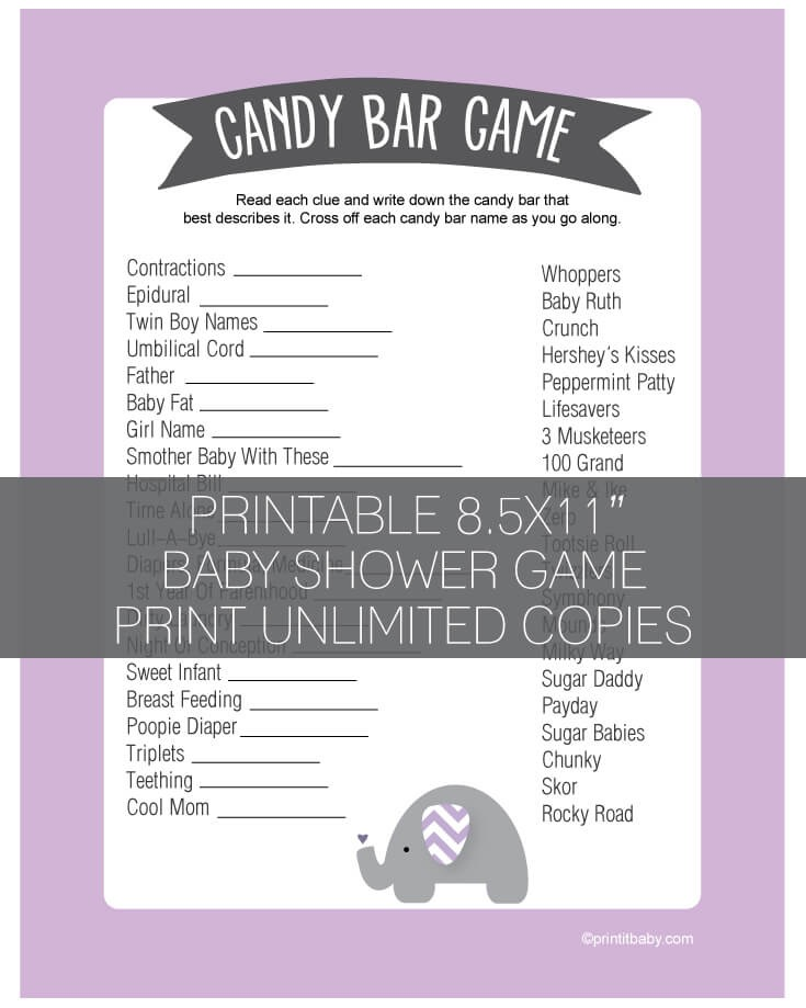 Baby Shower Candy Bar Game - Purple Lavender Elephant Jungle Theme