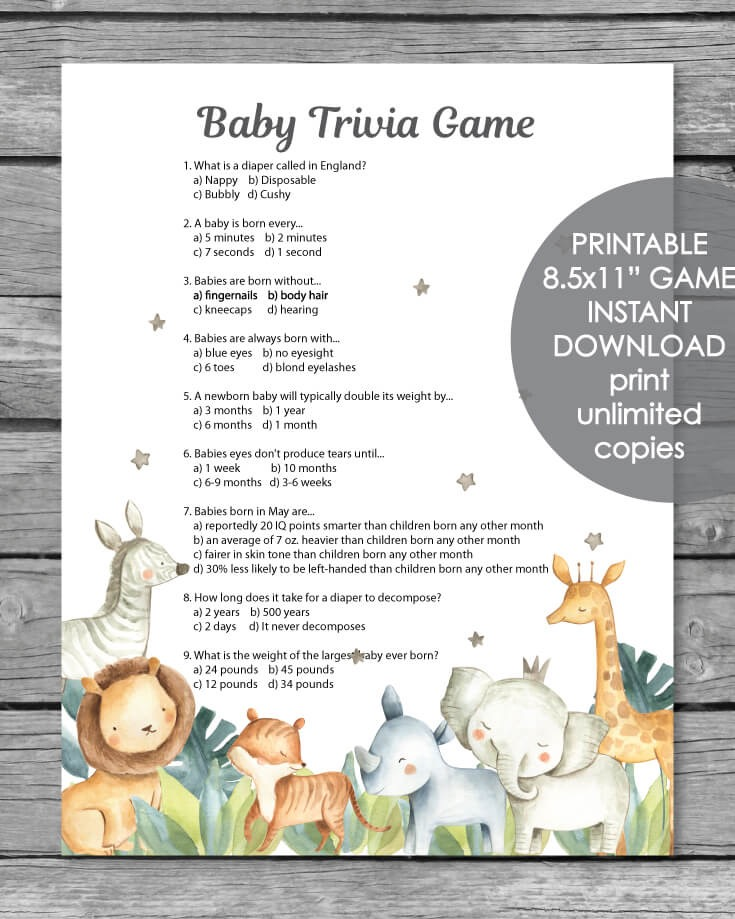 Printable Baby Shower Trivia Game - Jungle Safari Animal Watercolor Theme