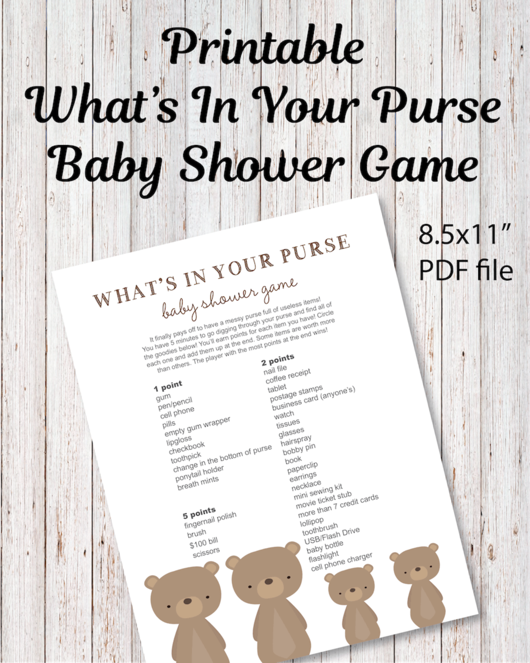 Printable What's In Your Purse Baby Shower Game - Woodland Bear Theme