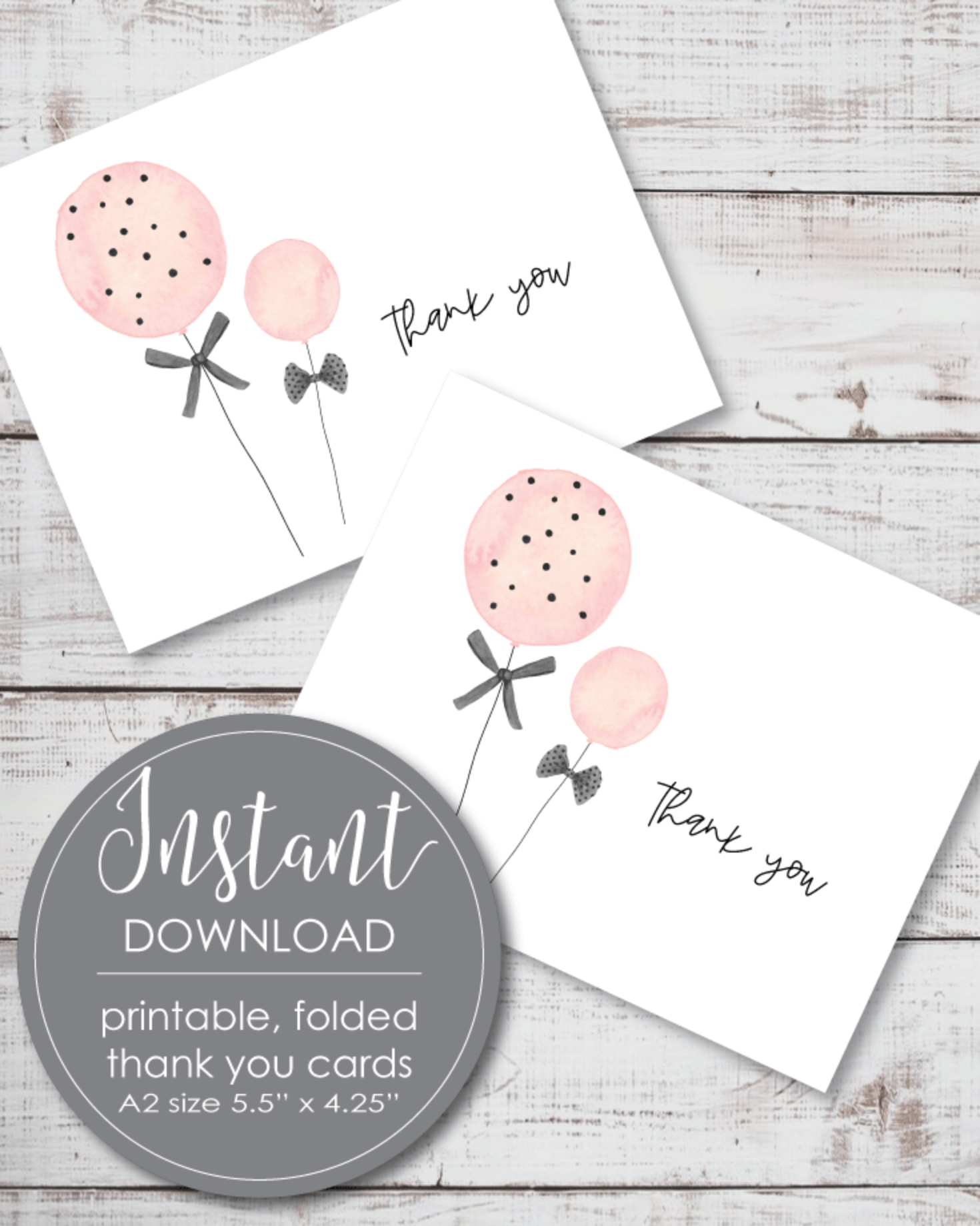 Printable Thank You Card - Pink Balloon Theme - 5.5 x 4.25""