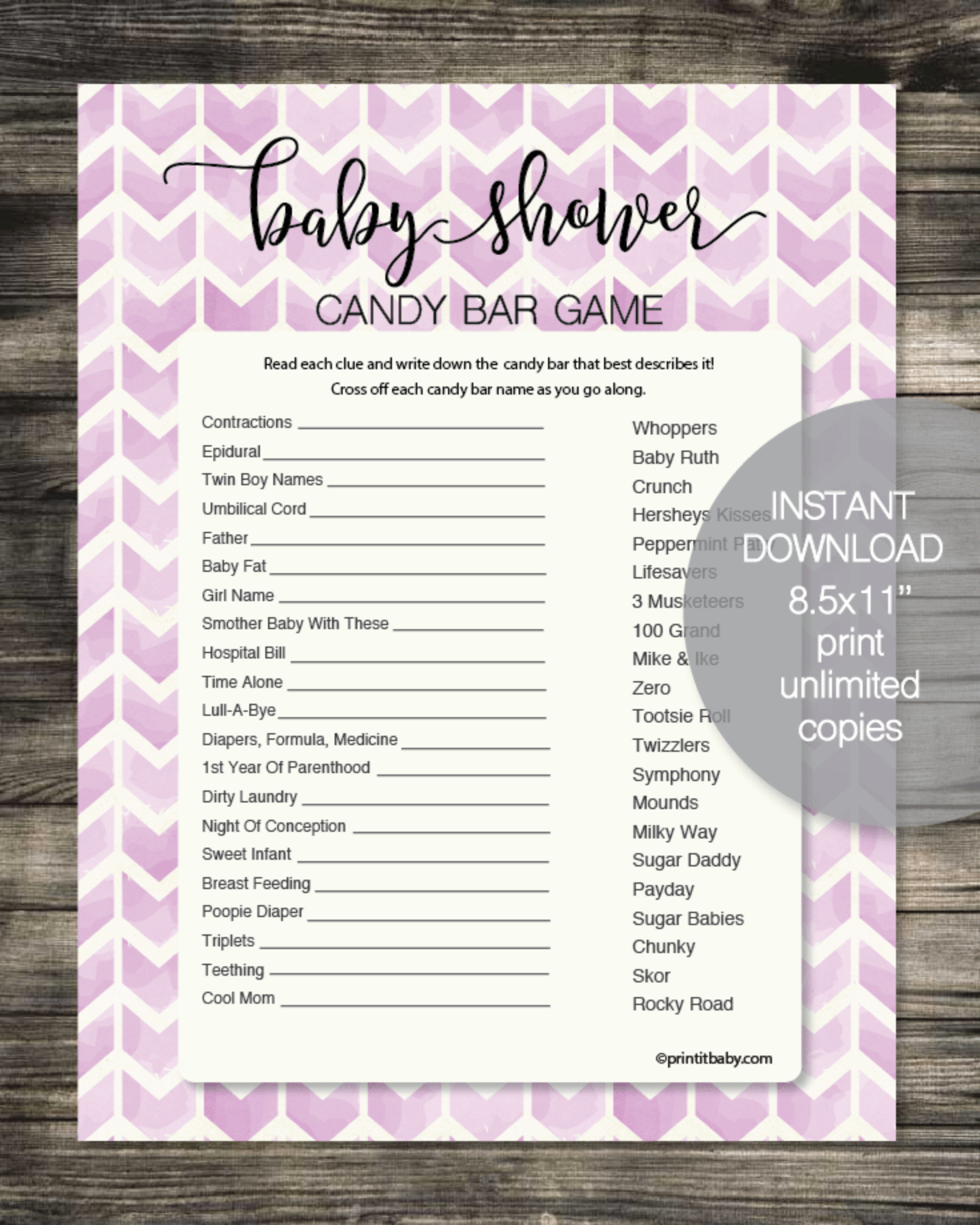 Baby Shower Candy Bar Game - Purple Chevron Watercolor Arrows