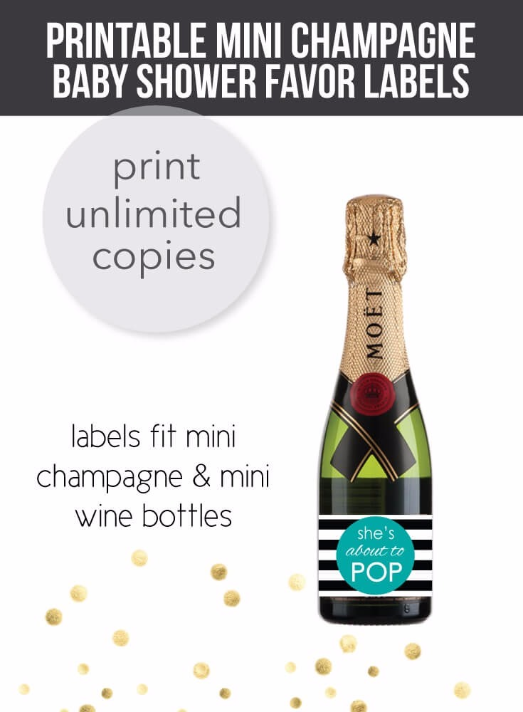 She's About To Pop - Teal Mini Champagne Baby Shower Favor Labels