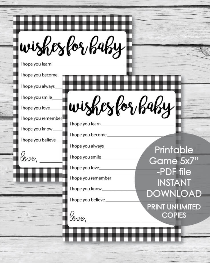 """Printable Black And Plaid Wishes For Baby Cards - 5x7"""""""