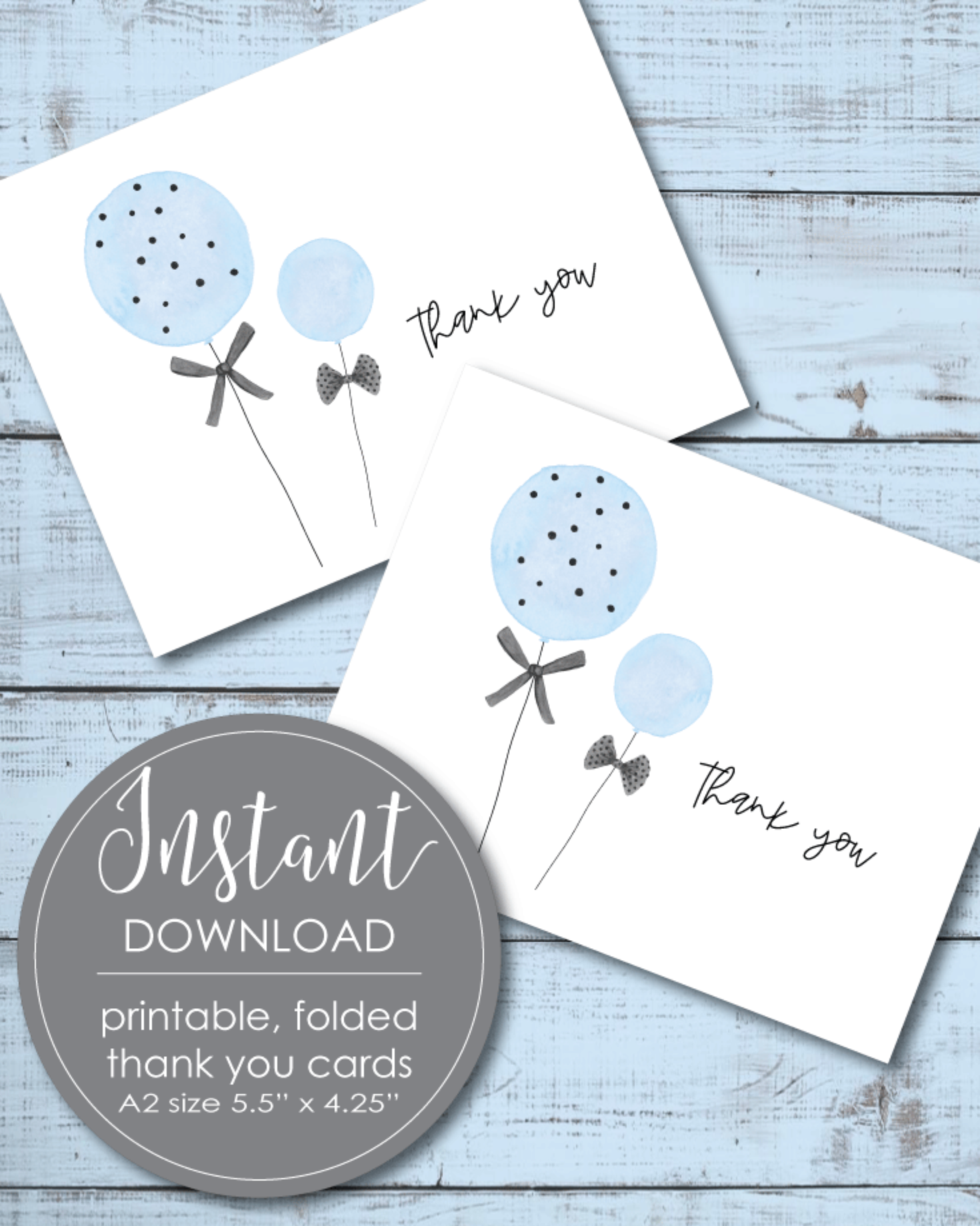 Printable Thank You Card - Blue Balloon Theme - 5.5 x 4.25""