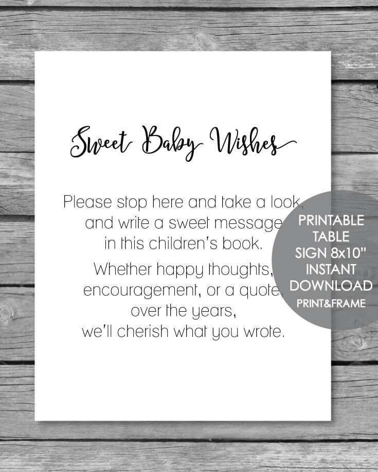 Printable Baby Wishes Book Sign - 8x10
