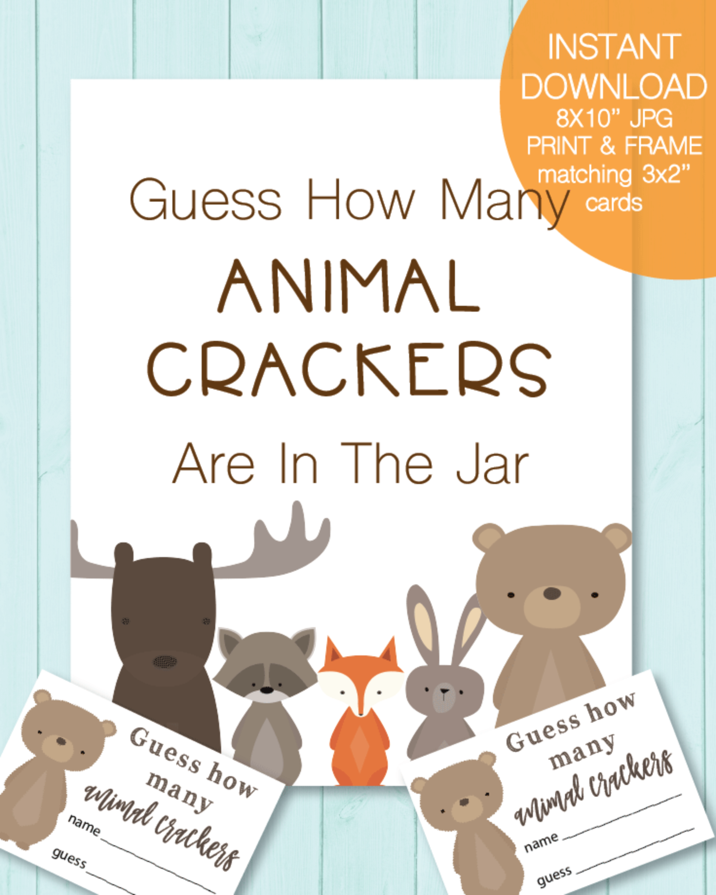 Printable Baby Shower Animal Cracker Guessing Game - Woodland Animals Theme