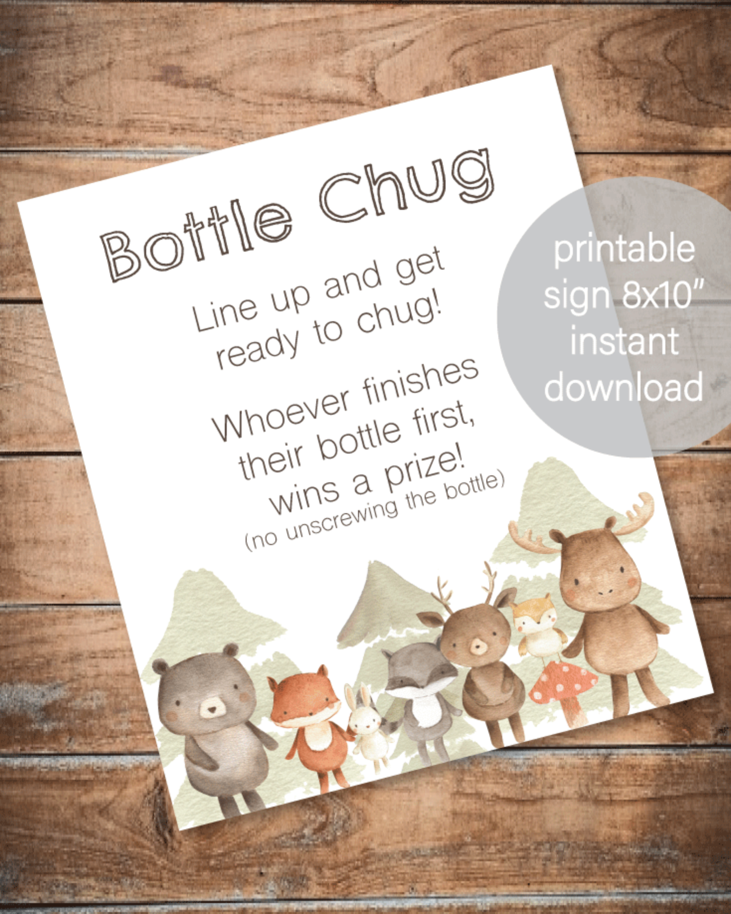 Printable Baby Bottle Chug Game - Woodland Watercolor