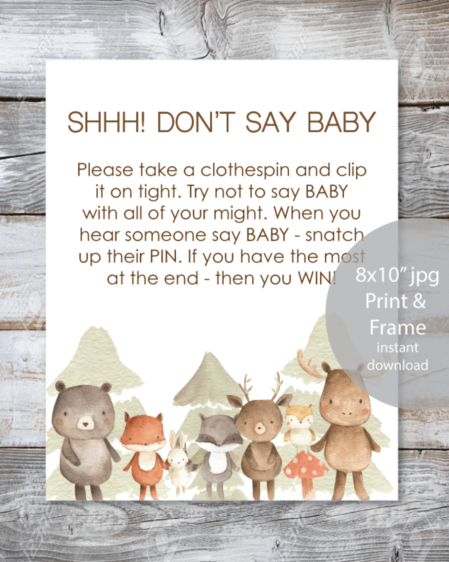 "Woodland Watercolor Animals Printable ""Don't Say Baby"" Clothespin Baby Shower Game"