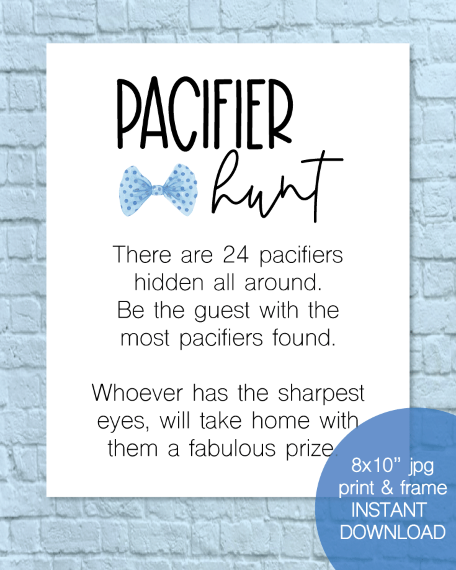 Printable Pacifier Hunt Baby Shower Game Sign - Boy Bow Tie, Little Man Theme