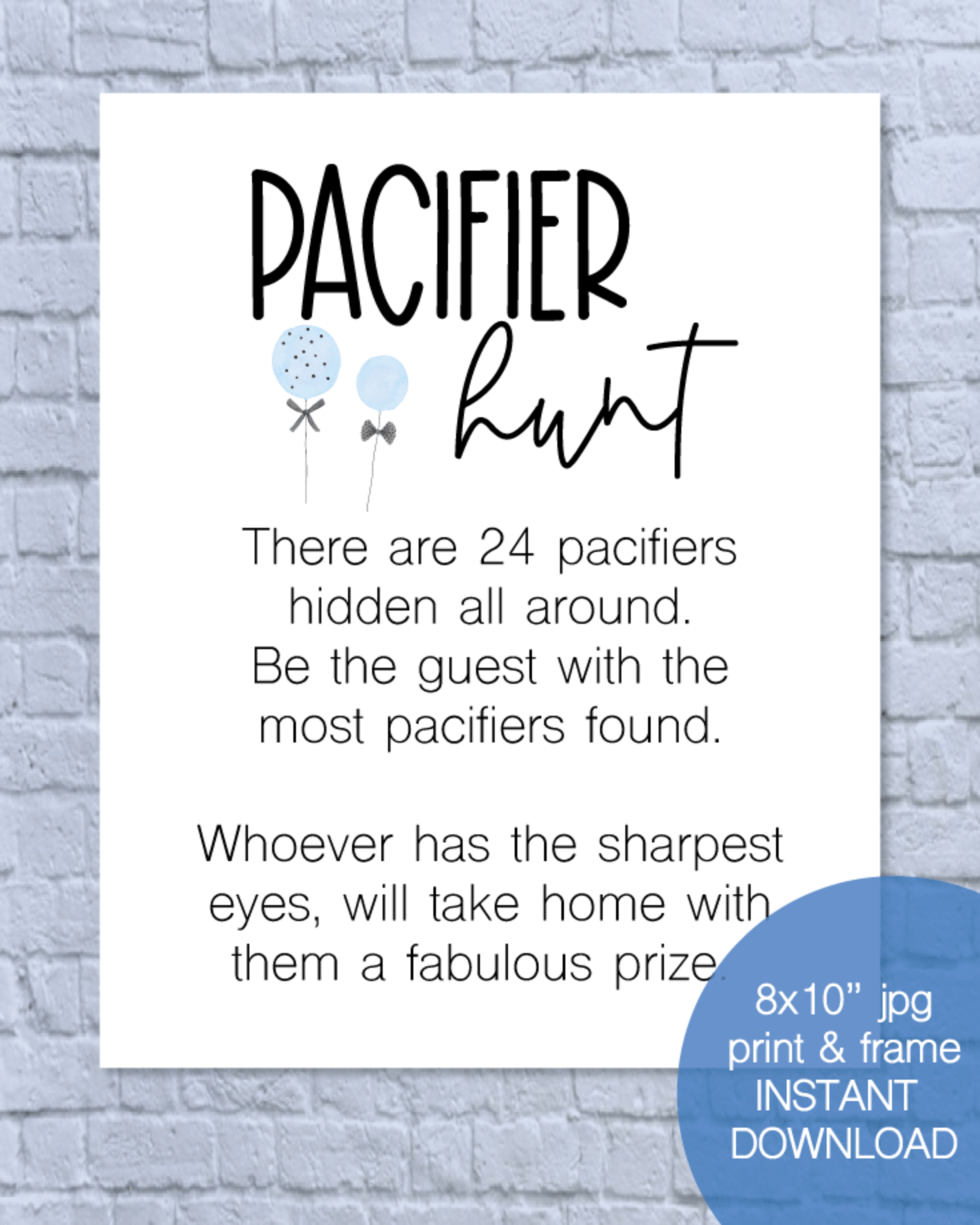 Printable Pacifier Hunt Baby Shower Game Sign - Blue Balloons