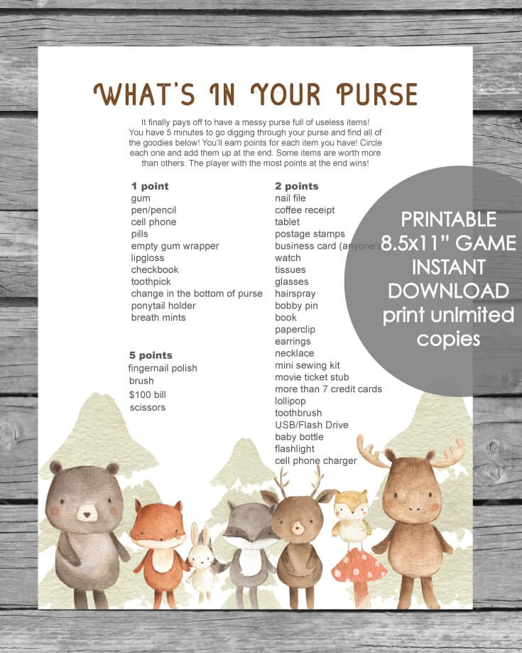 Printable What's In Your Purse Baby Shower Game - Woodland Animals Watercolor