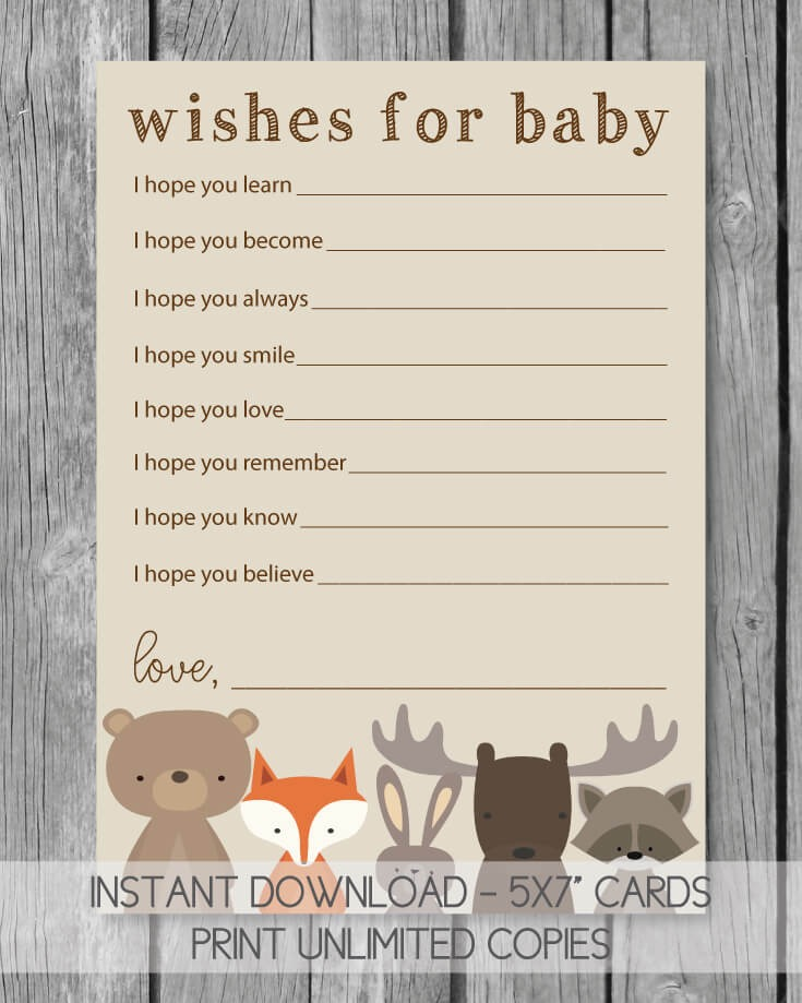 Woodland Animals Printable Well Wishes For Baby Cards