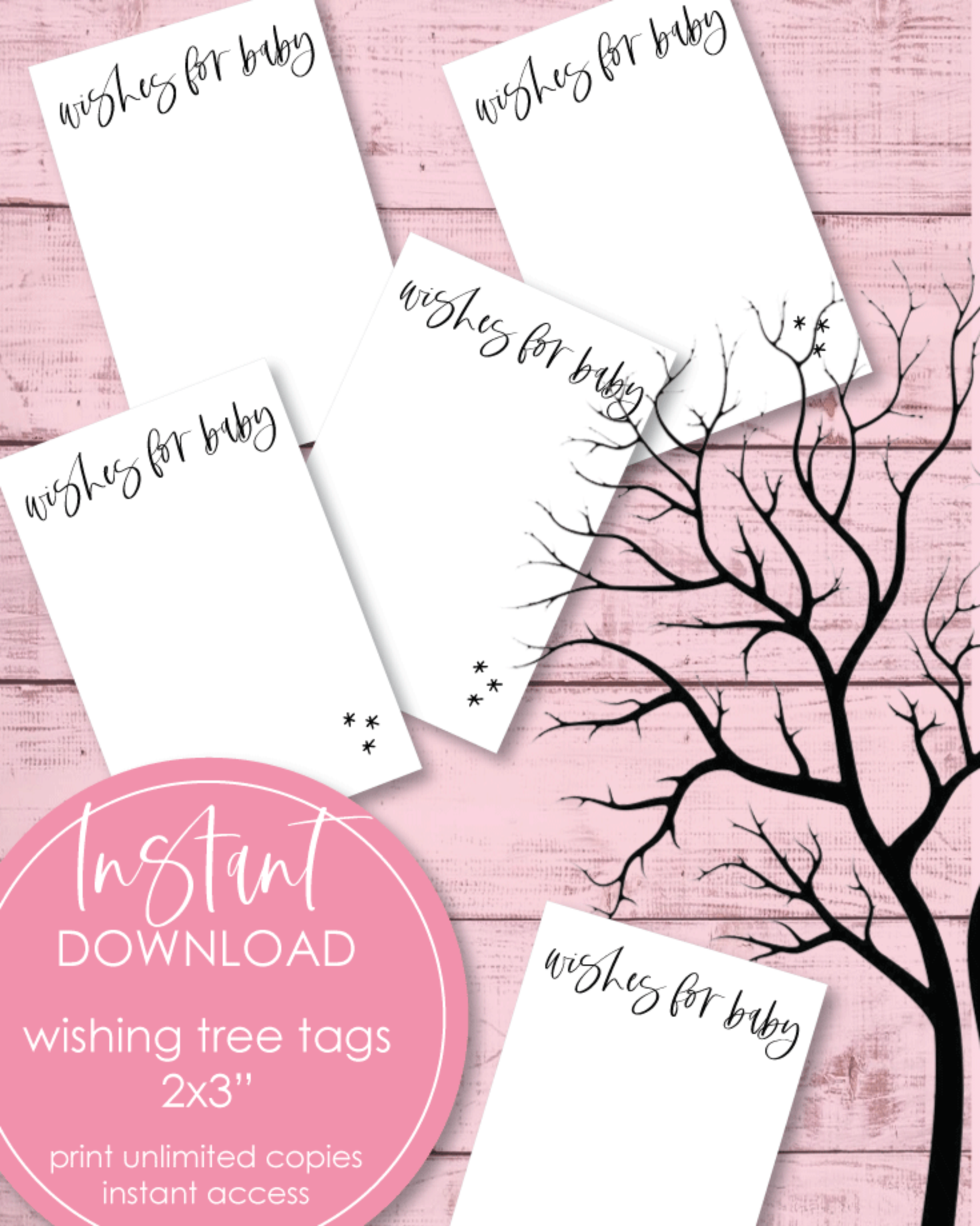 Wishing Tree Tags For A Baby Shower 2x3""