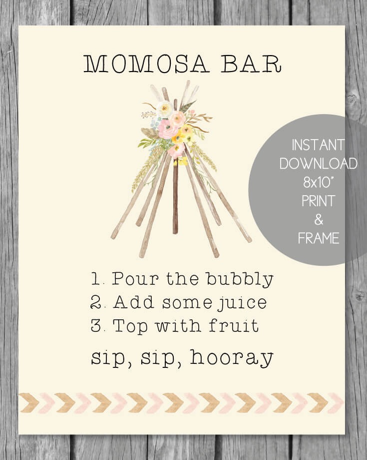 "Printable Momosa Bar Sign - 8x10"" Boho Teepee Theme"