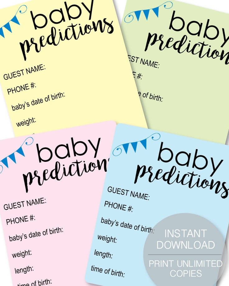Printable Pastel Baby Shower Prediction Cards
