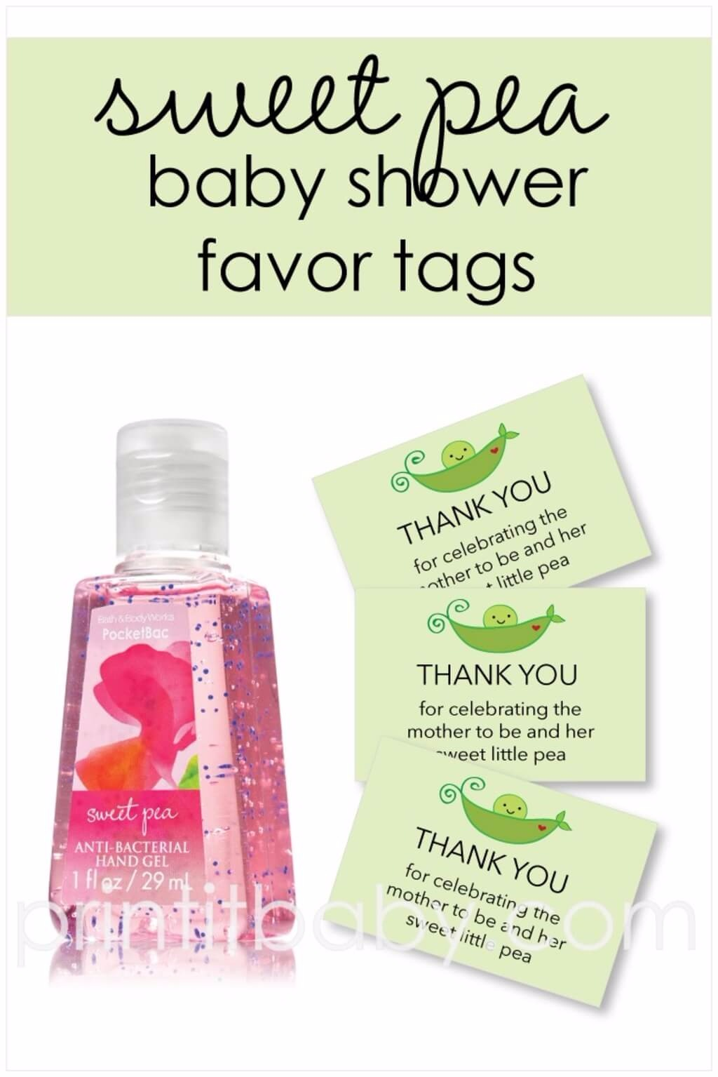 Free Printable Green Sweet Pea Favor Tags