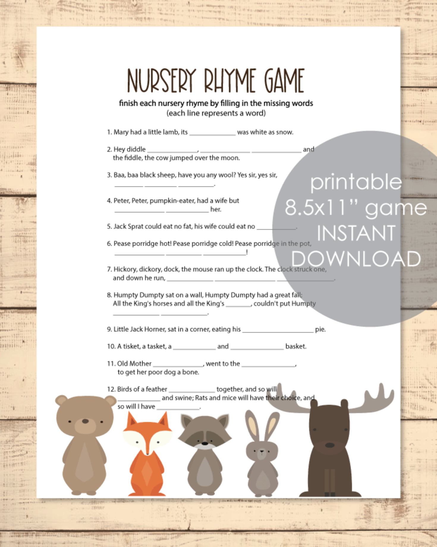 Printable Baby Shower Nursery Rhyme Game - Woodland Animals Theme With White Background