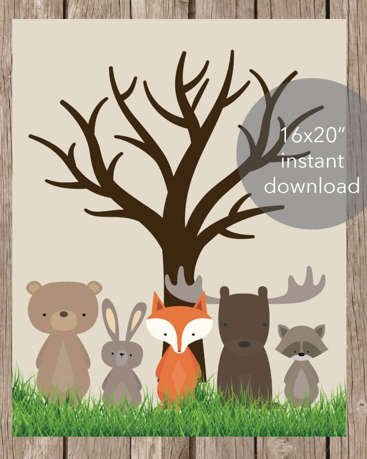 "Woodland Animals Baby Shower Thumbprint Tree - 16x20"" and 11x14"" Included"