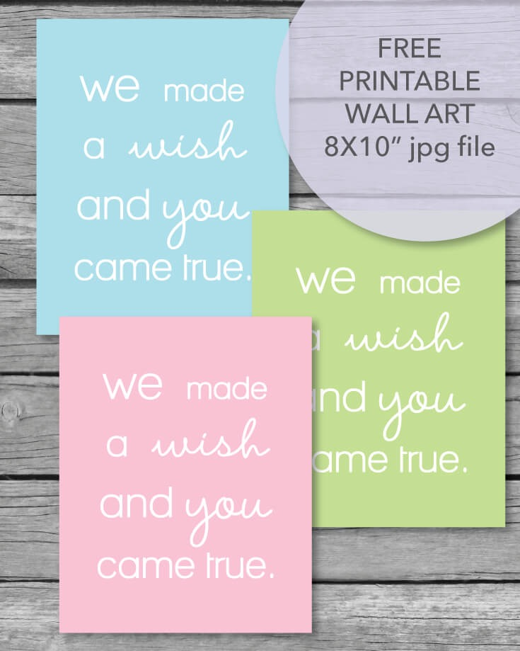 FREE Printable We Made A Wish, 8x10