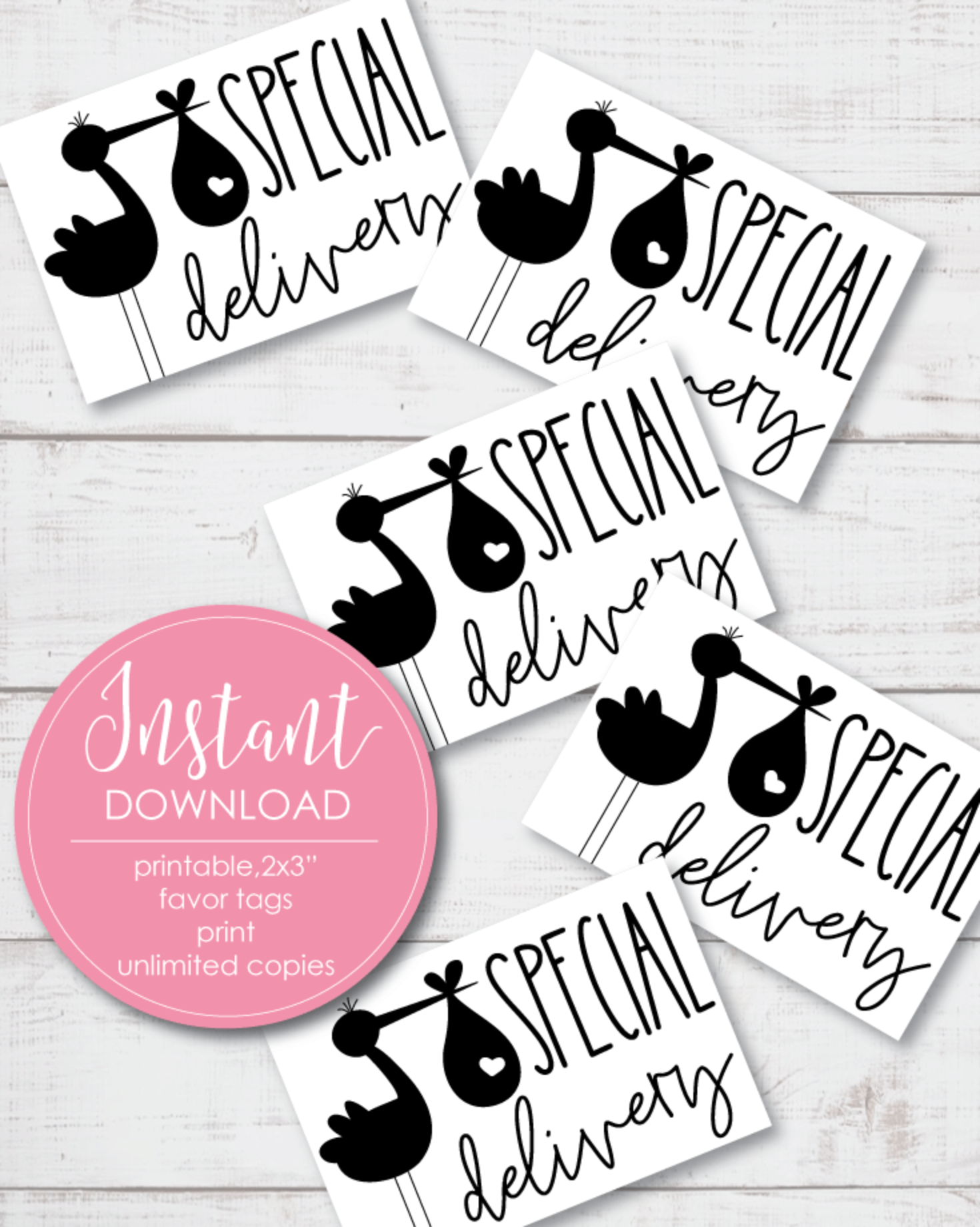 Printable Stork Gift And Favor Tags - Black And White 2x3""