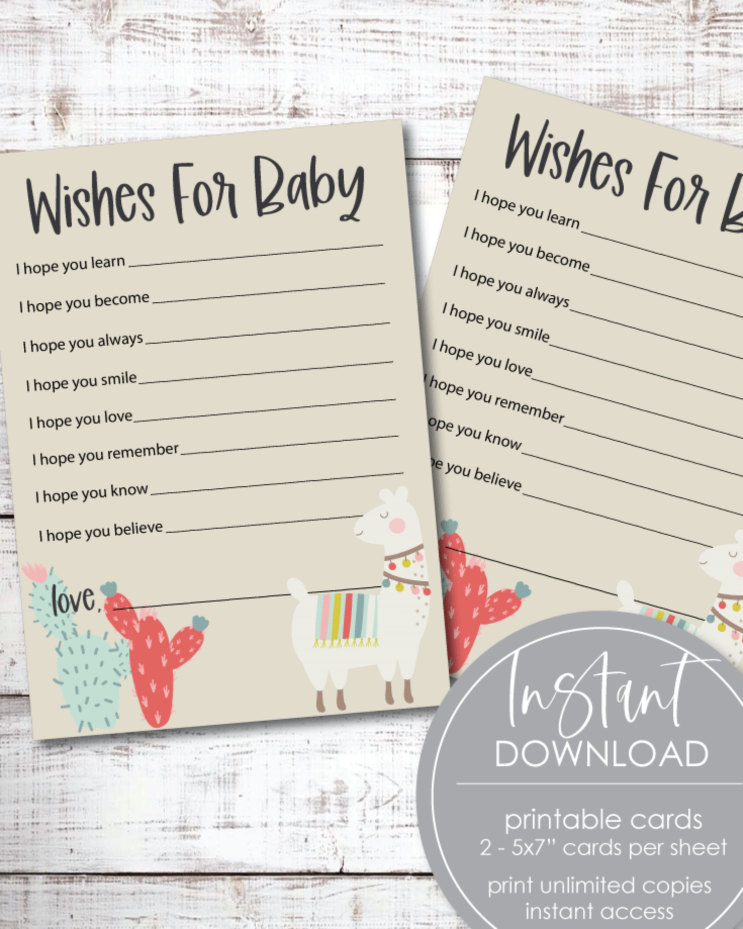 Printable Boho Llama Cactus, Baby Shower Wishes For Baby Cards