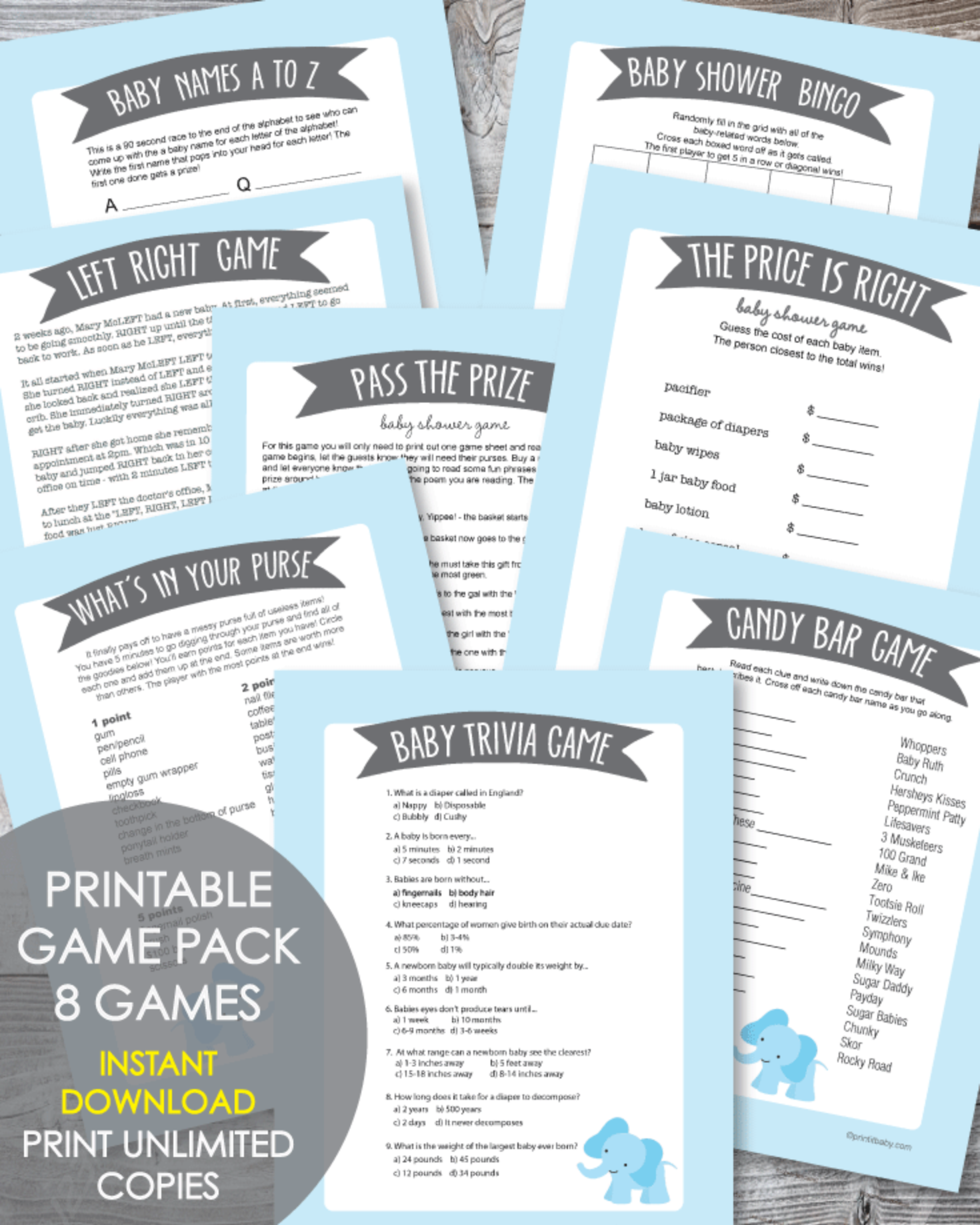 Printable Baby Shower Game Pack Blue Elephant Jungle Theme