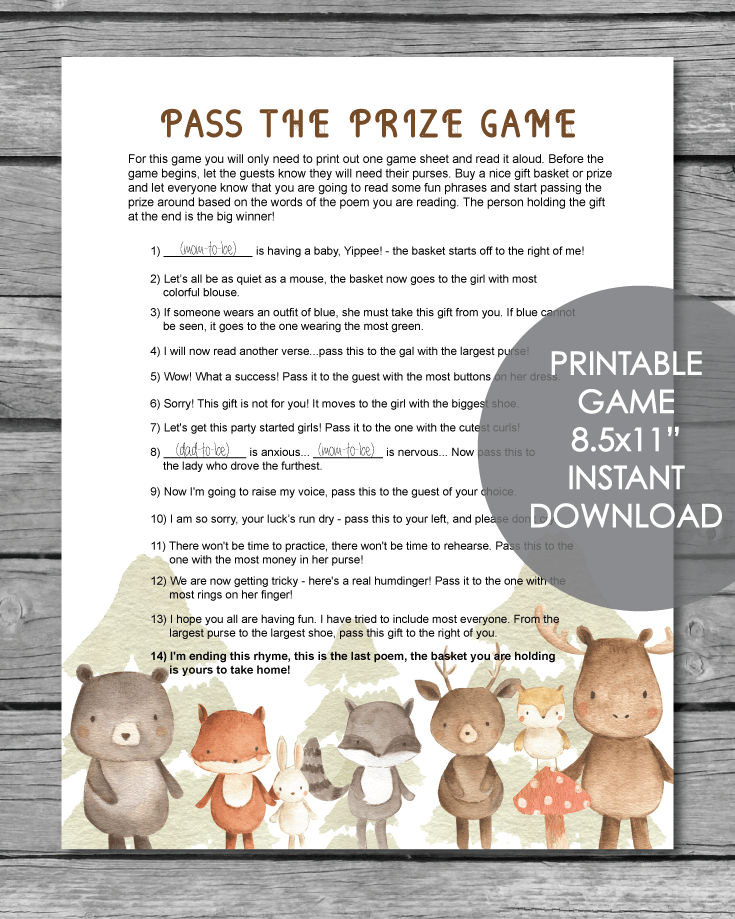 Printable Pass The Prize Baby Shower Game - Woodland Animals Watercolor Theme