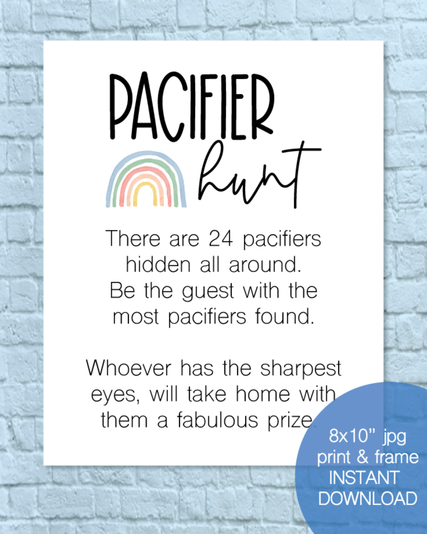 Printable Pacifier Hunt Baby Shower Game Sign - Rainbow
