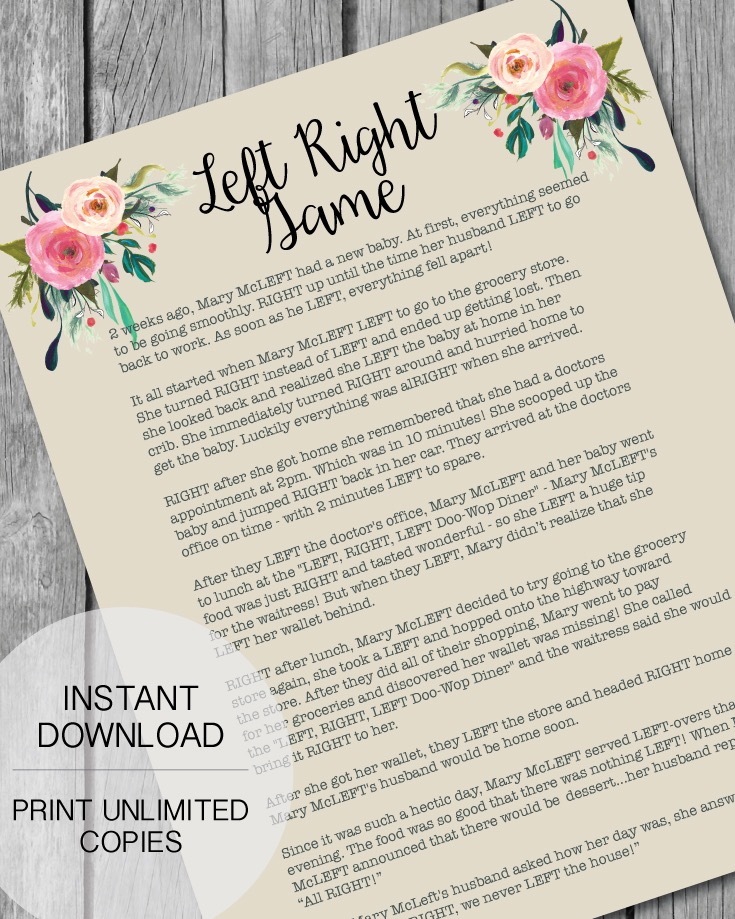 Printable Left Right Baby Shower Game - Garden Flowers Theme