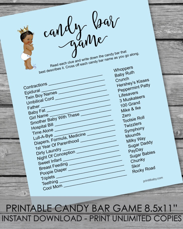 Printable Baby Shower Candy Bar Game - African American Baby Boy Blue