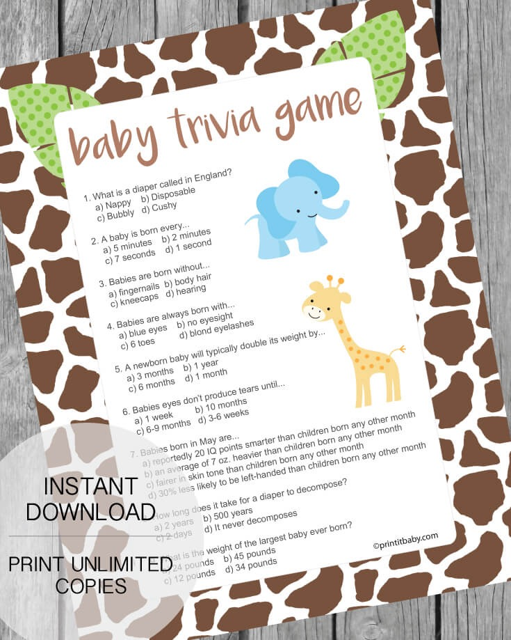 Jungle Theme Baby Shower Trivia Game