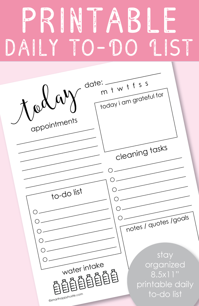 Printable Daily To-Do List 8.5x11