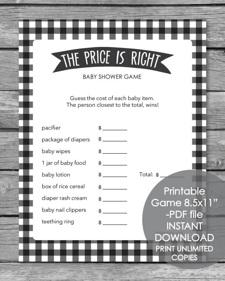 Printable Baby Shower Game - The Price Is Right - Black And White Plaid Theme