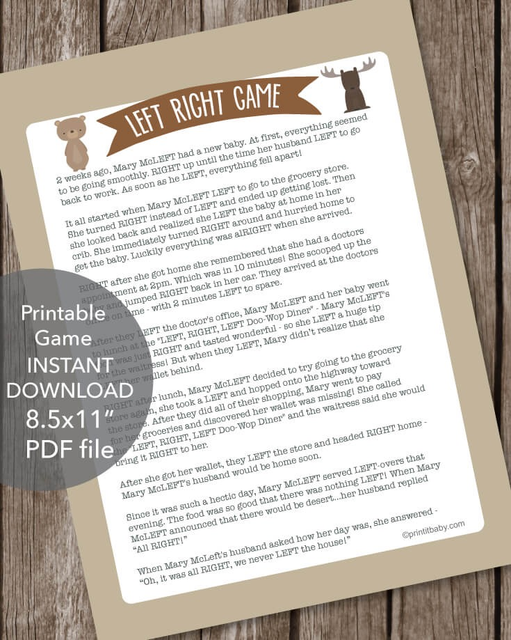 Printable Left Right Baby Shower Game Woodland Creatures Theme