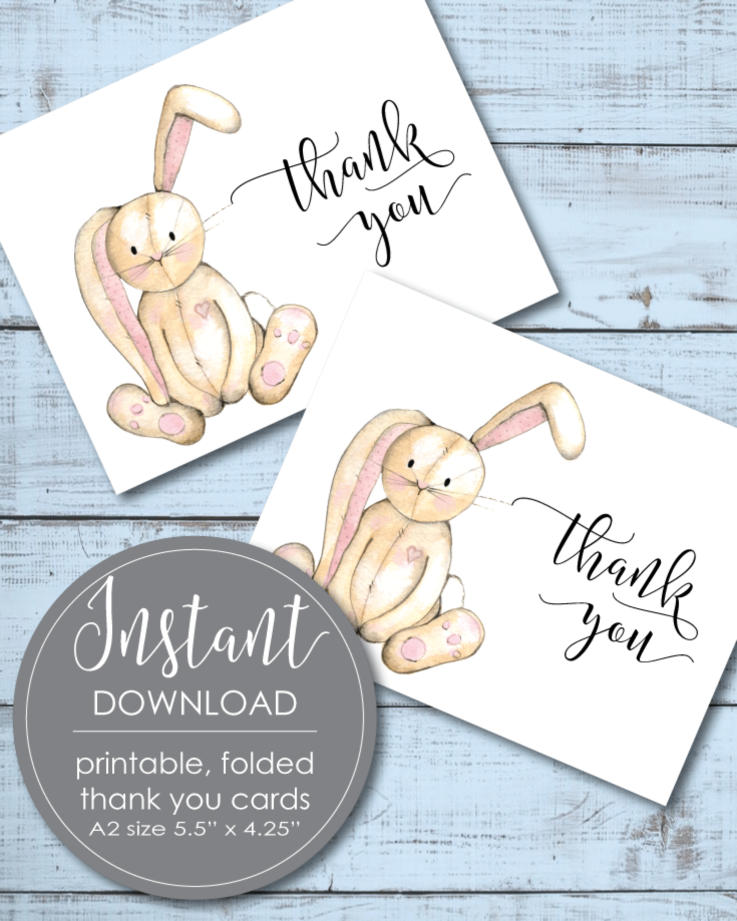 Printable Thank You Card - Bunny Rabbit Theme - 5.5 x 4.25""