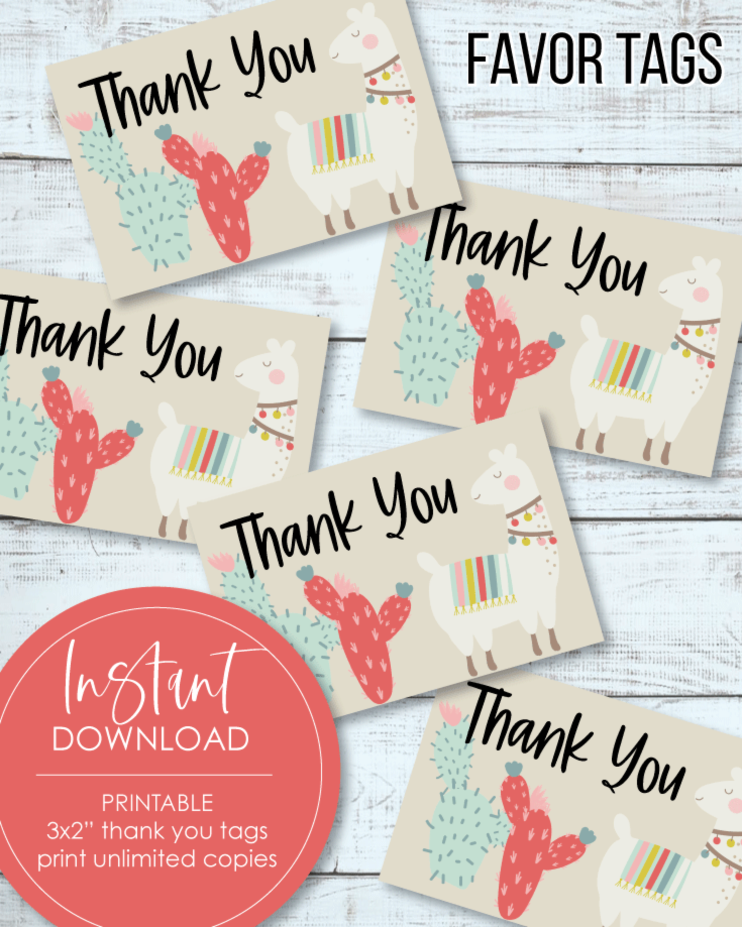 "Printable 3x2"" Thank You Tags - Llama, Boho, Cactus Theme"