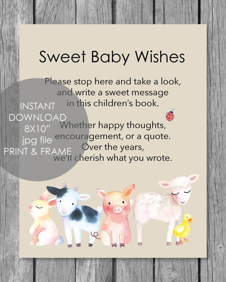 Printable Baby Wishes Book Sign - Baby Farm Animals Theme