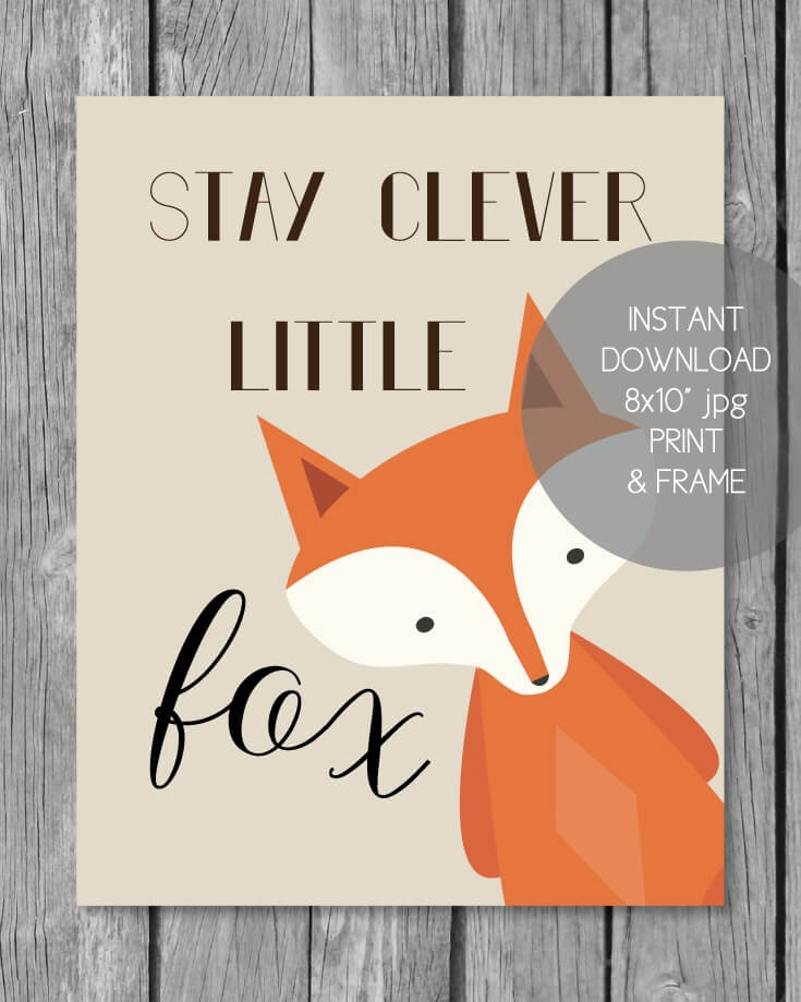 Woodland Fox Printable Baby Nursery Wall Art - 8x10""