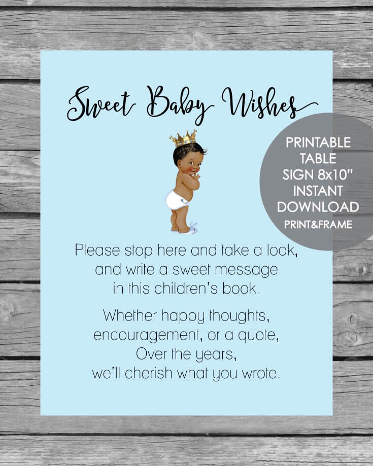 Printable Baby Wishes Book Sign - African American Boy, Blue 8x10