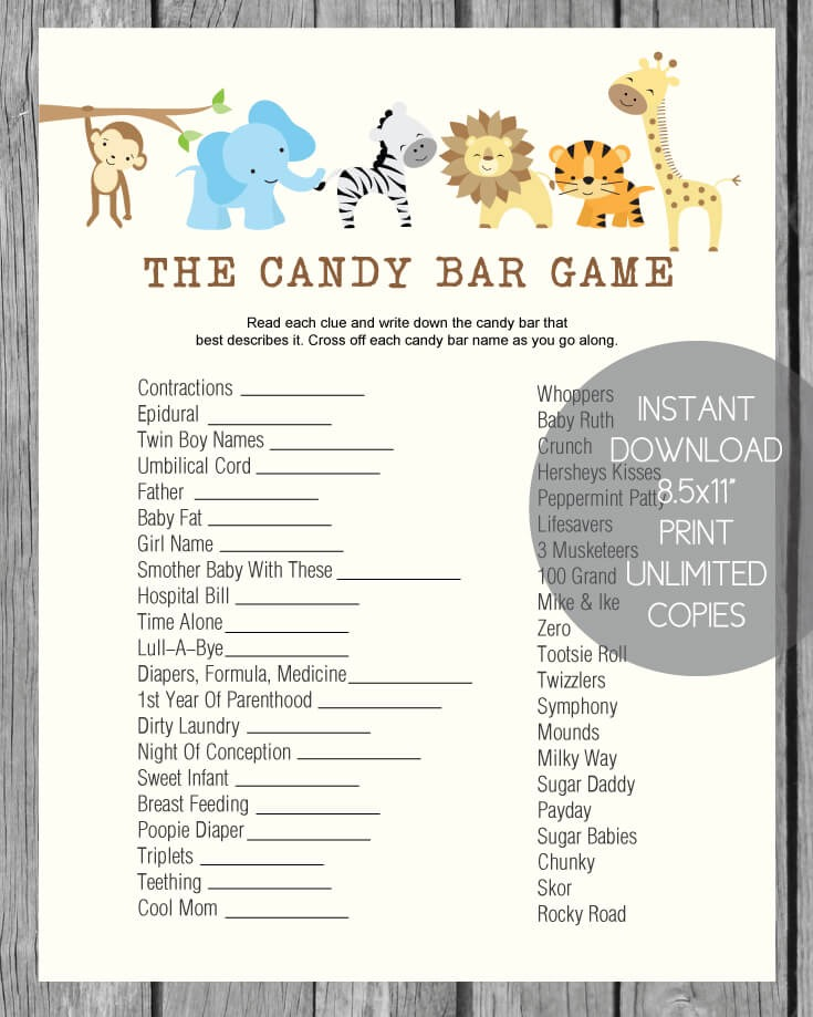 Baby Shower Candy Bar Game - Jungle Theme