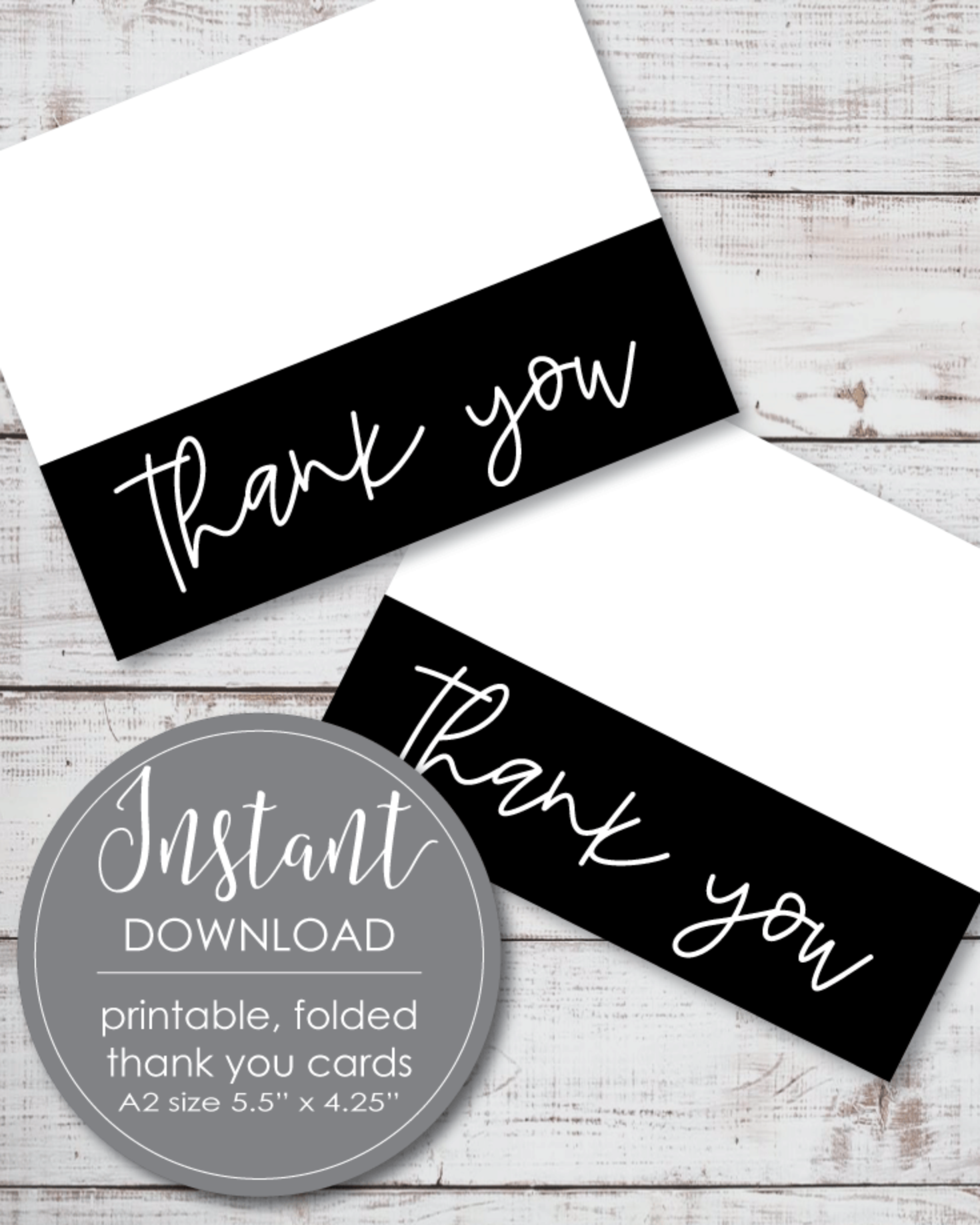 Printable Thank You Card - Black And White Theme - Foldable Card, 5.5 x 4.25""