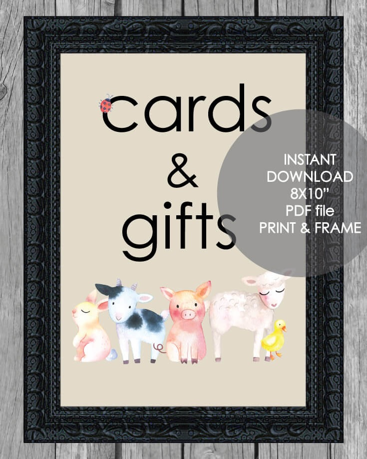 "Printable Cards And Gifts Sign - 8x10"" Baby Farm Animals Theme"