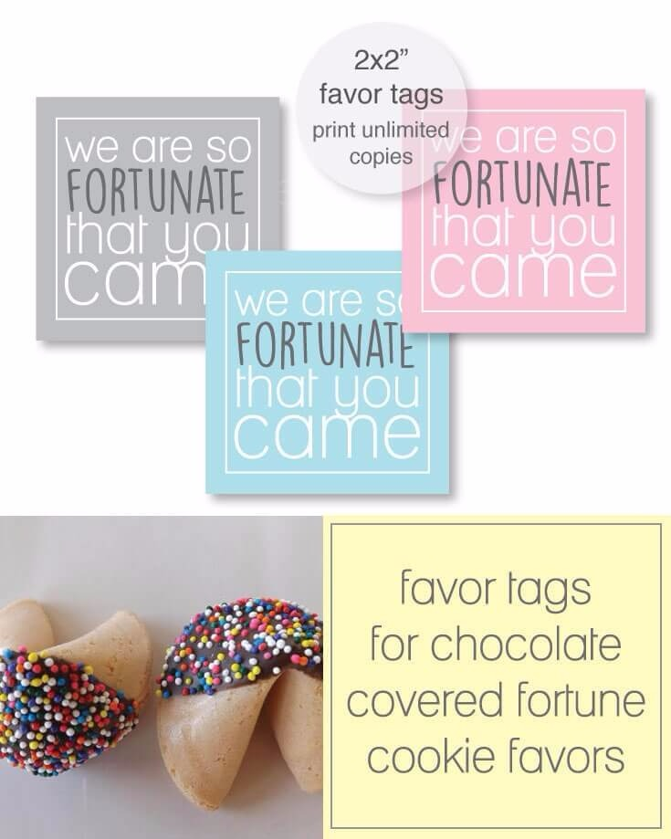 Free Printable Fortune Cookie Favor Tags - pink, blue, gray tags included