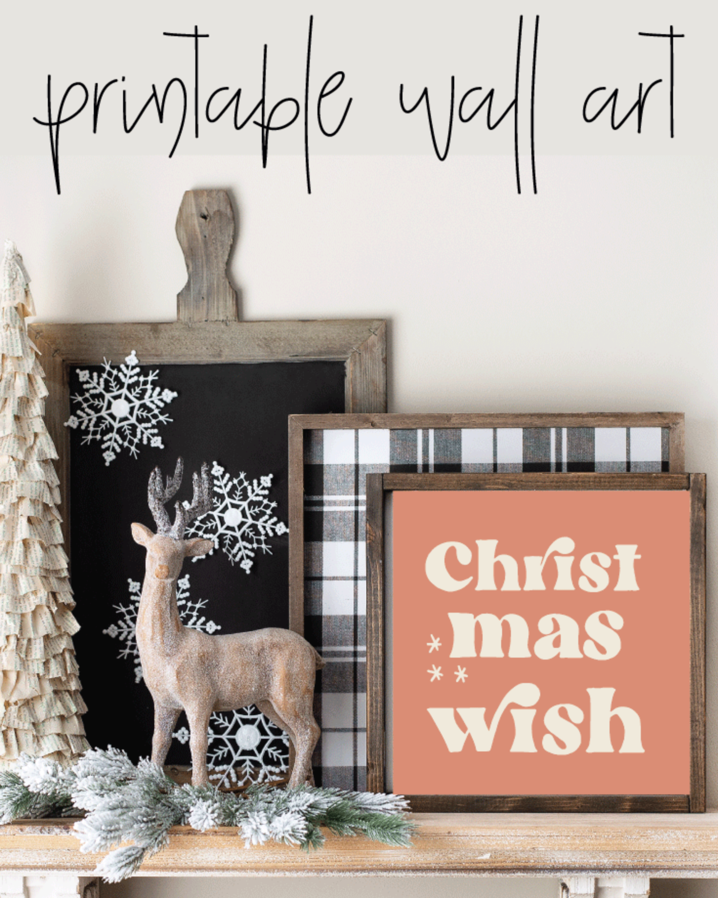 Printable, Christmas Wish, Holiday Winter Christmas Wall Art Sign Print