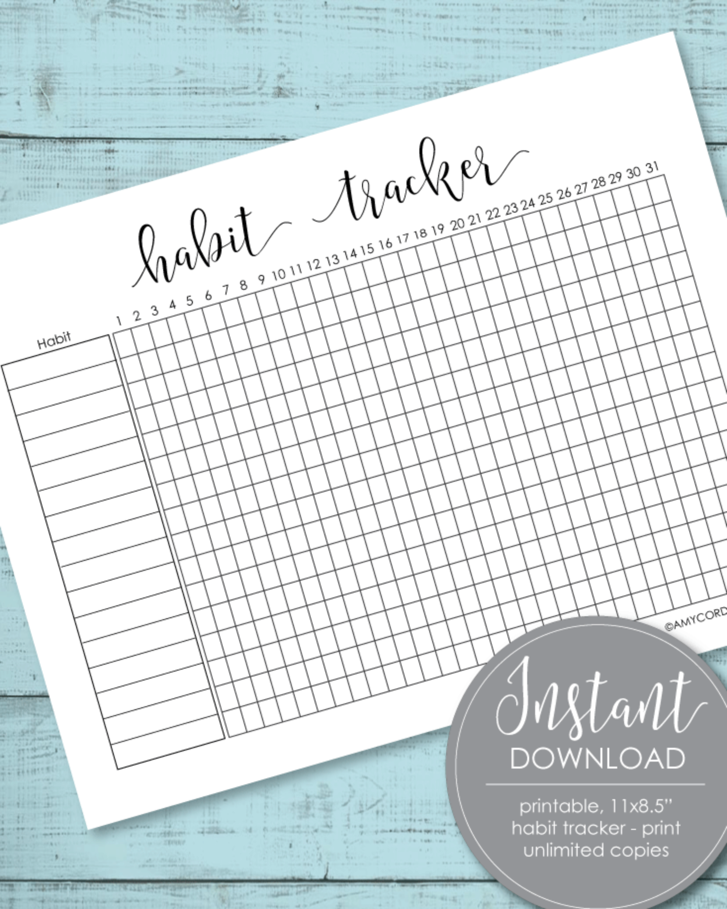 Printable Monthly Habit And Goal Tracker 8.5x11