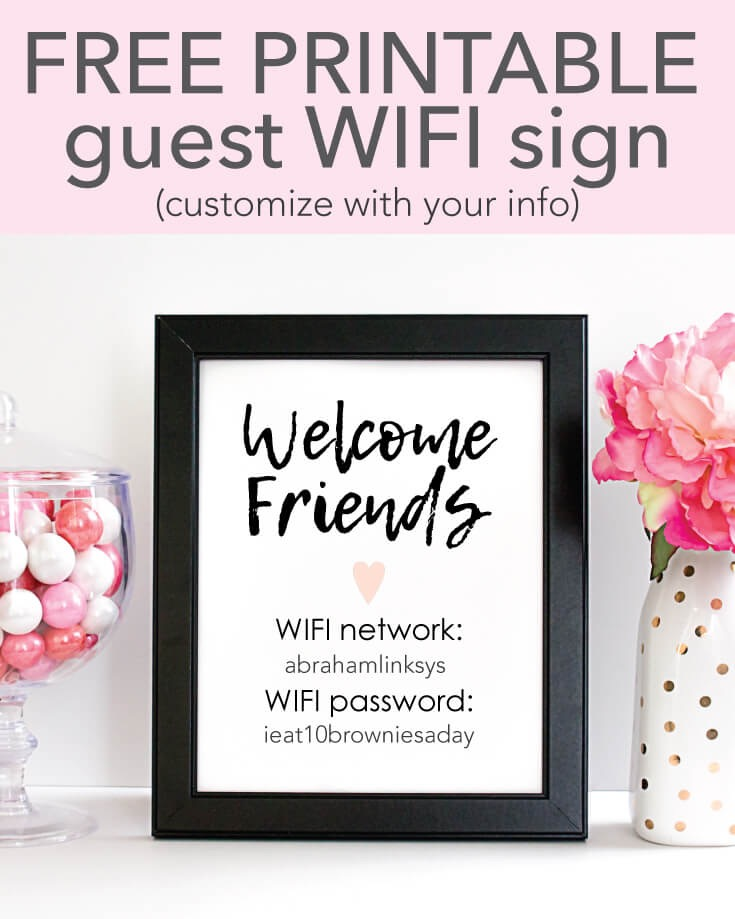 FREE Printable WIFI Password Sign - 5x7
