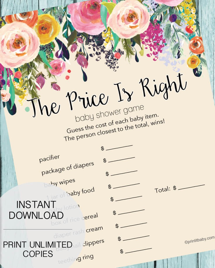 The Price Is Right Baby Shower Game - Garden Flowers