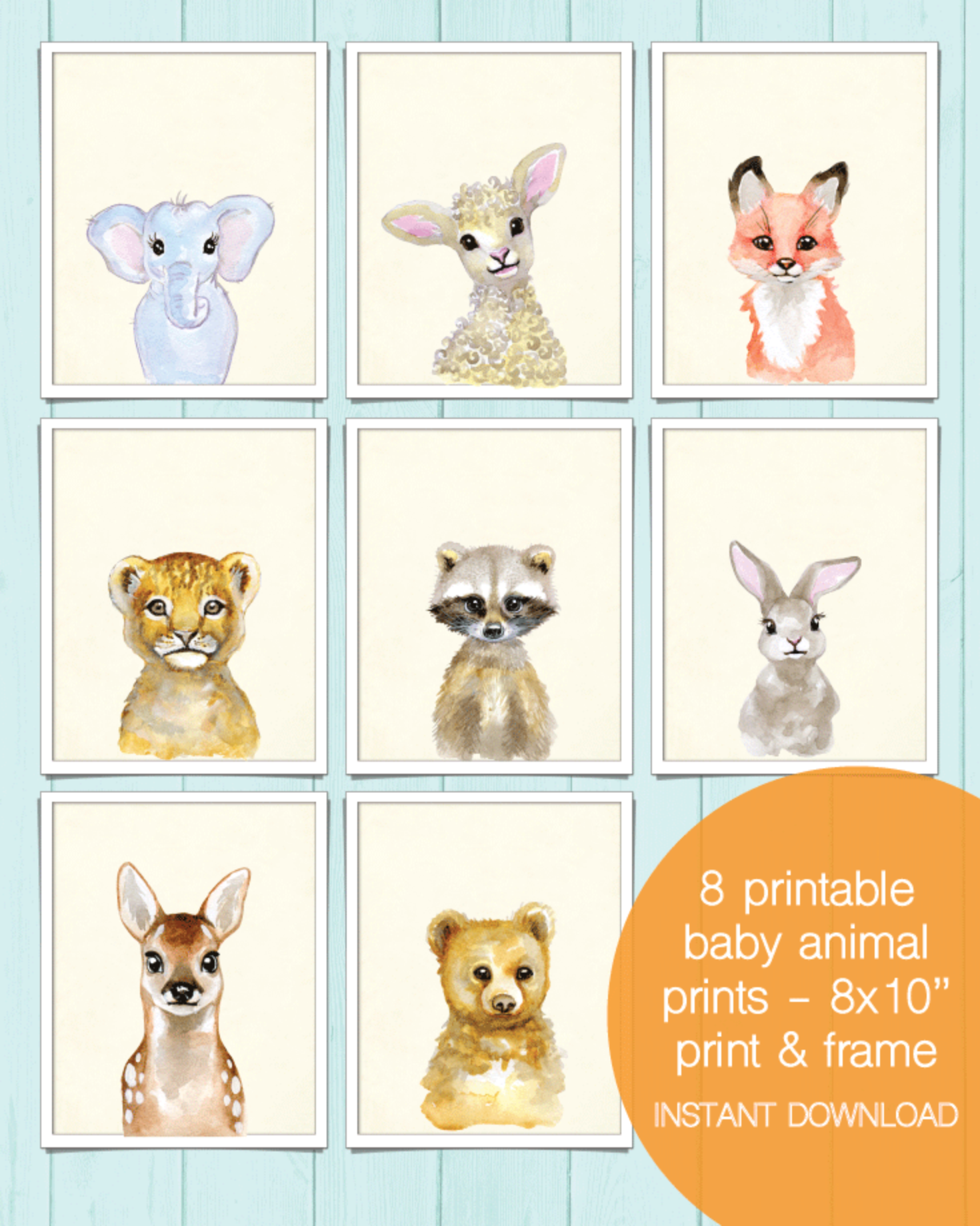 8 Printable Baby Animal Wall Art Pictures - 8x10